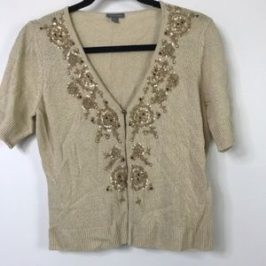 Ann Taylor Cardigan Gold Beading Sequins Size M